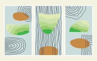 Abstract shapes poster contemporary boho art vector