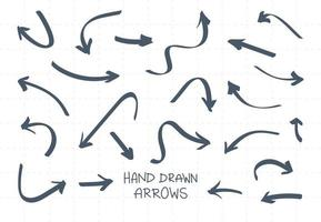 Hand Drawn Arrows Illustration Collection Package Set vector