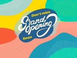 Grand Opening Poster with abstract shapes vector