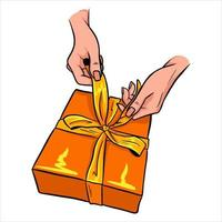 regalo presente envuelto con un lazo hermosa decoración de regalos estilo de dibujos animados vector