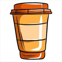 café en un vaso café en una taza de plástico café para llevar estilo de dibujos animados vector