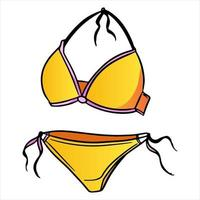 Summer items two piece swimsuit for swimming yellow in cartoon style vector