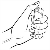 Lighter in the hands Vector illustration in cartoon style The lighter is burning in the hands