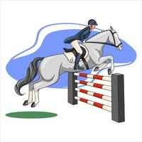 Horseback Riding Woman Riding a Horse Over an Obstacle in Cartoon Style vector