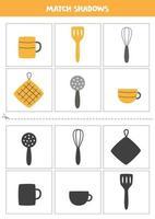encontrar sombras de utensilios de cocina tarjetas para niños vector