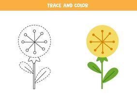Traza y colorea la linda hoja de trabajo de flores de diente de león para niños. vector