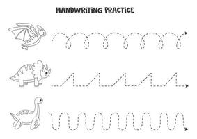 Tracing lines with cute dinosaurs Writing practice vector
