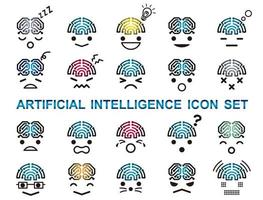 Artificial Intelligence Vector Icon Set Isolated On A White Background