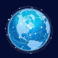 Ilustración del concepto de vector de sistema de red global sobre un fondo oscuro