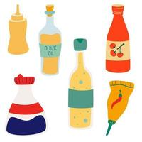 Set of sauces and sauce bottles vector