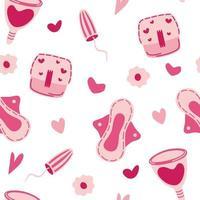 Seamless pattern with feminine hygiene items vector