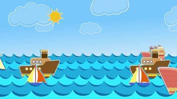 barcos y olas del mar de papel animado video