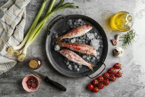 Creative arrangement of raw fish photo