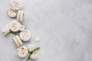 Creative arrangement of delicious macarons photo