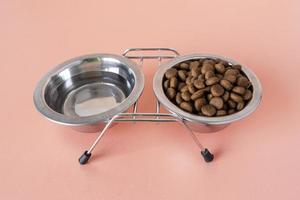 Pet accessories still life with bowl set for water and food photo