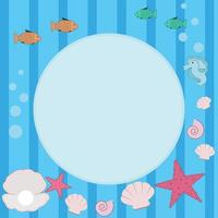 Baby frame of marine life with place for text vector