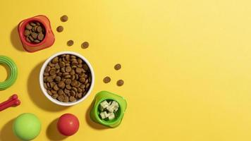 Pet accessories still life concept with various size bowls photo