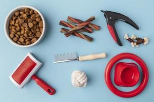Pet accessories still life concept with grooming objects and food photo