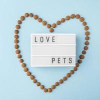 Pet accessories still life concept with dry food in heart shape photo