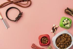 Top view pet accessories and dry food photo