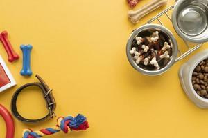 Vista superior de comida para mascotas con juguetes. foto