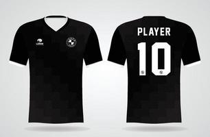 plantilla de camiseta deportiva negra para uniformes de equipo y diseño de camiseta de fútbol vector