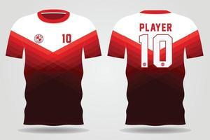 Plantilla de camiseta deportiva blanca roja para uniformes de equipo y diseño de camiseta de fútbol vector