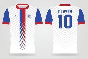 plantilla de camiseta deportiva azul rojo blanco para uniformes de equipo y diseño de camiseta de fútbol vector