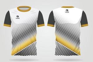 plantilla de camiseta deportiva de oro blanco negro para uniformes de equipo y diseño de camiseta de fútbol vector