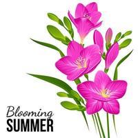 ramo de flores lilas vector