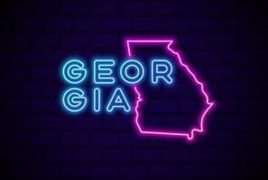georgia estados unidos lámpara de neón brillante letrero ilustración vectorial realista pared de ladrillo azul resplandor vector