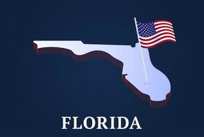 florida state Isometric map and USA natioanl flag 3D isometric shape of us state Vector Illustration