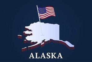 Mapa isométrico del estado de Alaska y bandera nacional de EE. UU. vector