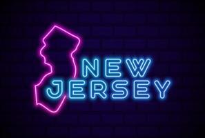 Nueva Jersey, estado de EE. UU., lámpara de neón brillante, signo, ilustración vectorial realista, pared de ladrillo azul, resplandor vector