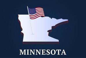 minnesota state Isometric map and USA national flag 3D isometric shape of us state Vector Illustration