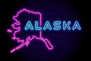 alaska, estados unidos, resplandeciente, lámpara de neón, señal, realista, vector, ilustración, azul, pared de ladrillo, resplandor vector