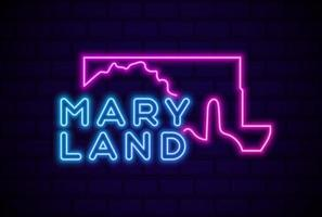 maryland estados unidos lámpara de neón brillante letrero ilustración vectorial realista pared de ladrillo azul resplandor vector