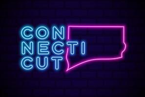 connecticut, estados unidos, resplandeciente, lámpara de neón, señal, realista, vector, ilustración, azul, pared de ladrillo, resplandor vector