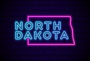 north dakota US state glowing neon lamp sign Realistic vector illustration Blue brick wall glow