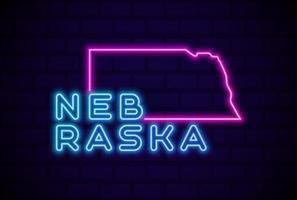 nebraska, estado de los estados unidos, lámpara de neón brillante, señal, realista, vector, ilustración vector