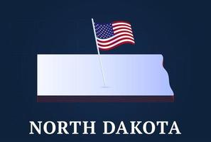 north dakota state Isometric map and USA national flag 3D isometric shape of us state Vector Illustration