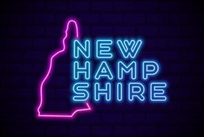 nuevo hampshire estado de los estados unidos lámpara de neón brillante letrero ilustración vectorial realista pared de ladrillo azul resplandor vector