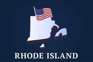 rhode island state Isometric map and USA national flag 3D isometric shape of us state Vector Illustration