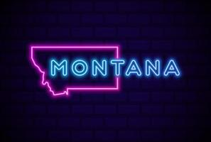 montana estados unidos lámpara de neón brillante letrero ilustración vectorial realista pared de ladrillo azul resplandor vector