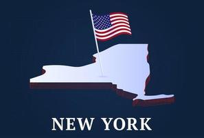 new york state Isometric map and USA national flag 3D isometric shape of us state Vector Illustration