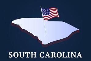 Mapa isométrico del estado de Carolina del Sur y bandera nacional de EE. UU. Forma isométrica 3d de la ilustración de vector de estado de EE. UU.