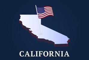Mapa isométrico del estado de California y bandera natioanl de EE. UU.Forma isométrica 3d de la ilustración de vector de estado de EE. UU.