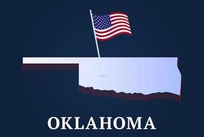 oklahoma state Isometric map and USA national flag 3D isometric shape of us state Vector Illustration