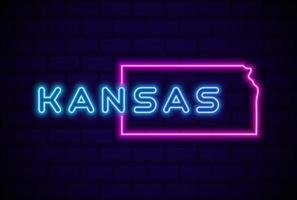 Kansas, estado de EE. UU., lámpara de neón brillante, signo, ilustración vectorial realista, pared de ladrillo azul vector