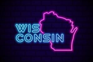 Wisconsin estado de los EE. UU. resplandeciente lámpara de neón signo ilustración vectorial realista pared de ladrillo azul resplandor vector